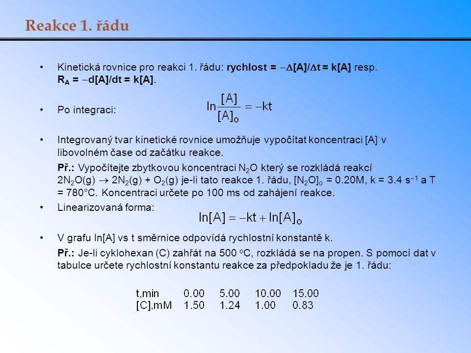 Reakce 1. řádu Kinetická rovnice pro reakci 1. řádu: rychlost = [A]/t = k[A] resp. RA = d[A]/dt = k[A].
